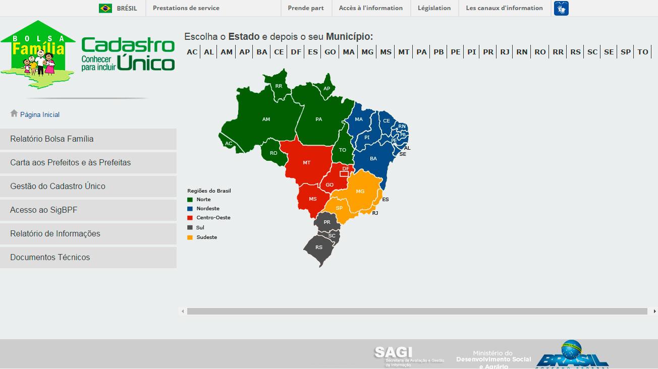 Imagem do site Bolsa Família e Cadastro Único no Seu Município